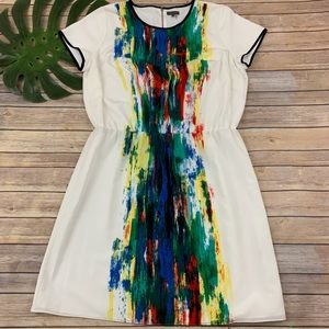 Vince Camuto short sleeve painted stripe dress